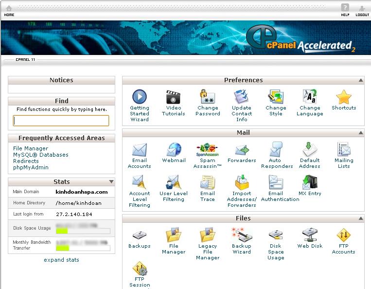 trang quan tri hosting